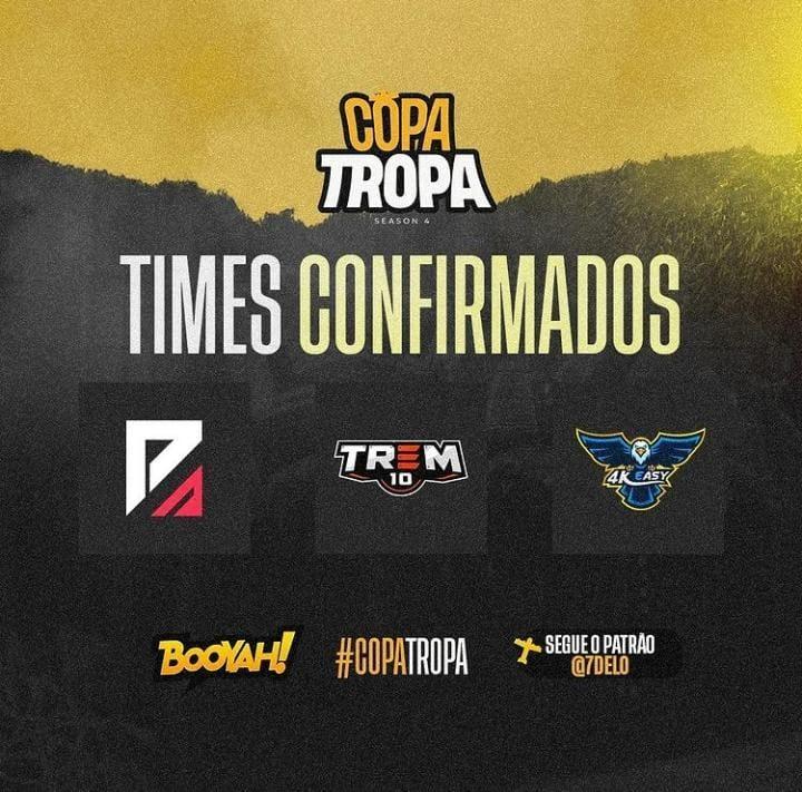 Faz o P, Trem 10 e 4k Easy confirmados na Season 4 da Copa Tropa. Imagem: @Tropagg
