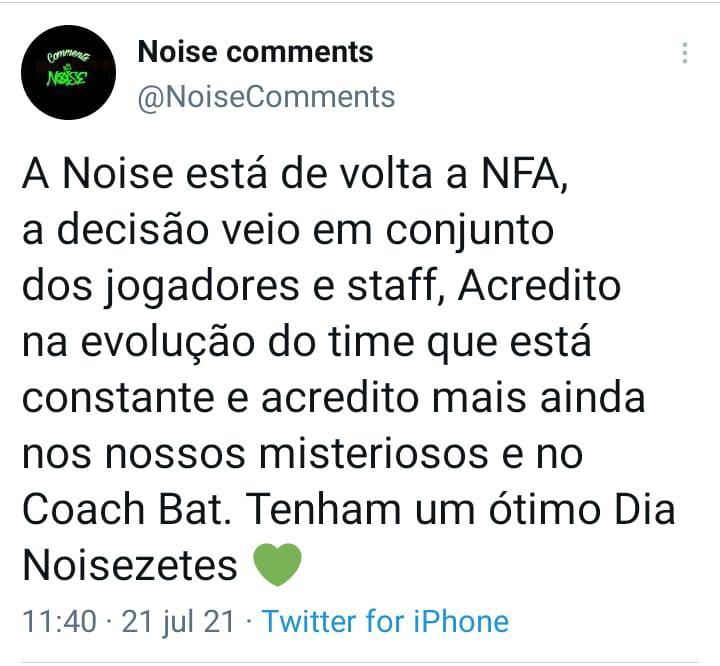 O portal Noise Comments foi quem trouxe a informação da volta da Noise a Liga NFA.