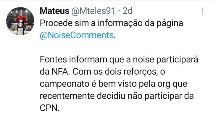Informação foi confirmada pelo jornalista Mateus Teles.