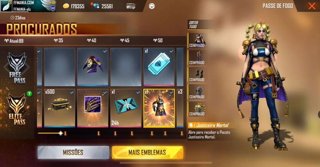 Pacote Justiceira mortal Free Fire