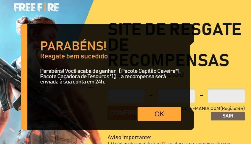 Free Fire Rewards: Como resgatar códigos no site oficial de recompensas