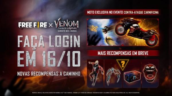 """""""Contra-ataque Carnificina"""", da parceria Garena Free Fire x Venom trará  mais recompensas gratuitas"""