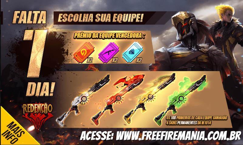 100 jogadores irão ganhar a M1014 Redenção grátis no Free Fire