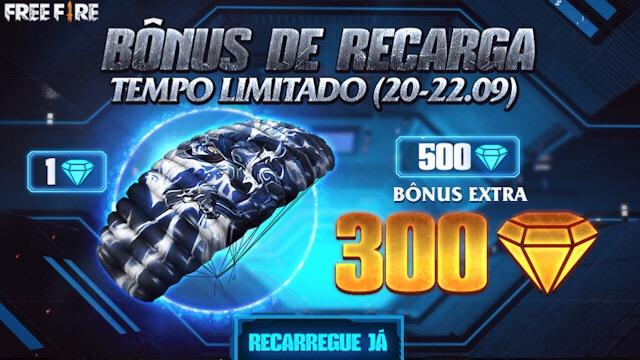 300 Diamantes Grátis no Evento Bônus de Recarga