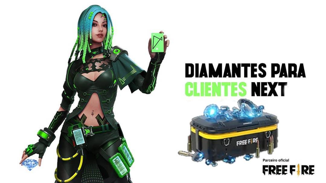 300 Diamantes Grátis no Free Fire para Clientes Next