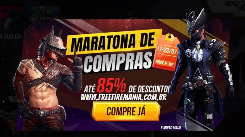 85% de desconto no evento Maratona de Compras do Free Fire