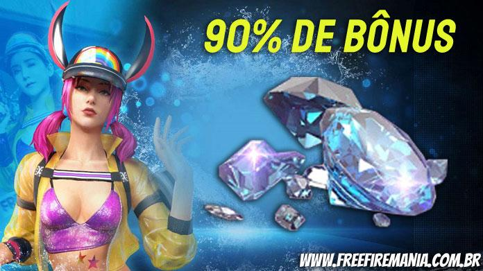 90% de bônus de diamantes na primeira recarga pelo Recarga Jogo