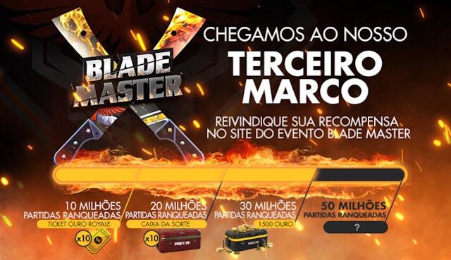 Acesse o Site do Blade Master para reivindicar seu prêmio!