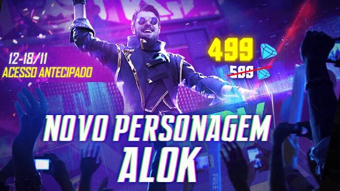 Alok no Free Fire: Compre por 499 Diamantes
