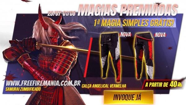 Calça Angelical Vermelha Free Fire: item pode ser conseguido com giro grátis ou a partir de 40 dimas
