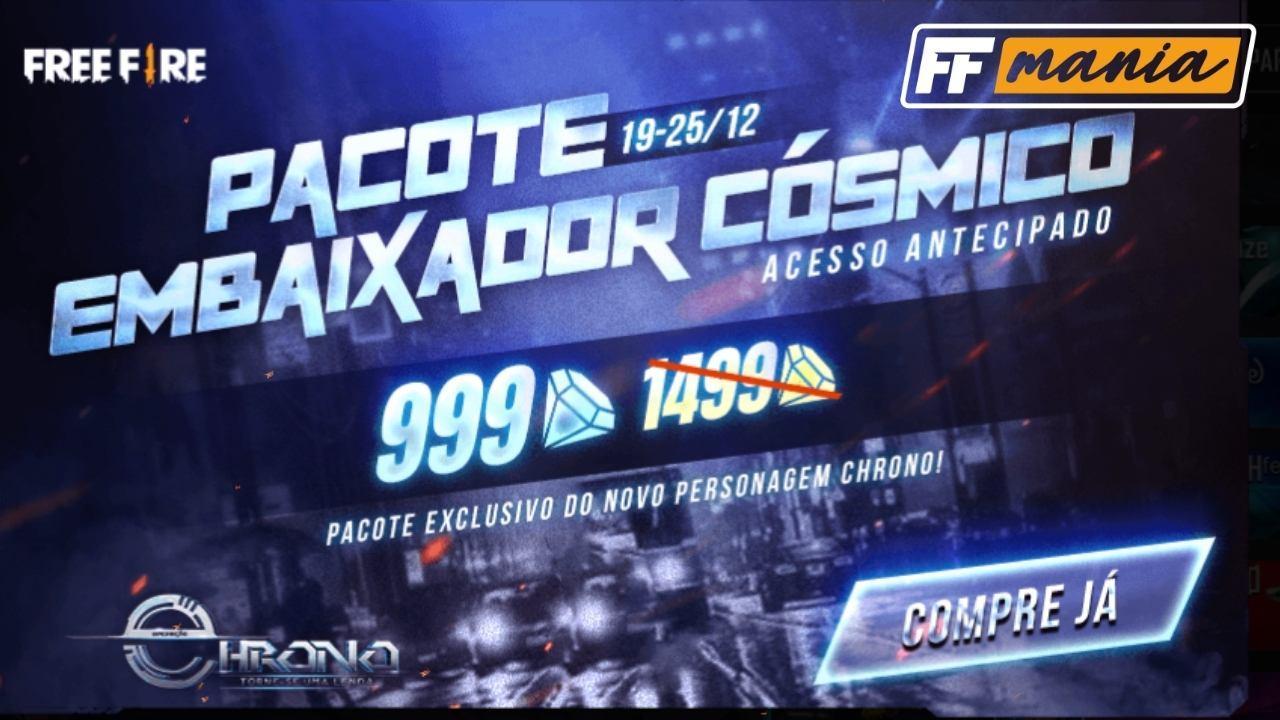 Chrono: Pacote Embaixador Cósmico por 999 diamantes na loja do Free Fire