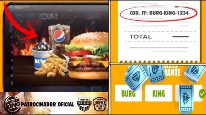 Cupom de Códigos do Free Fire no Burger King