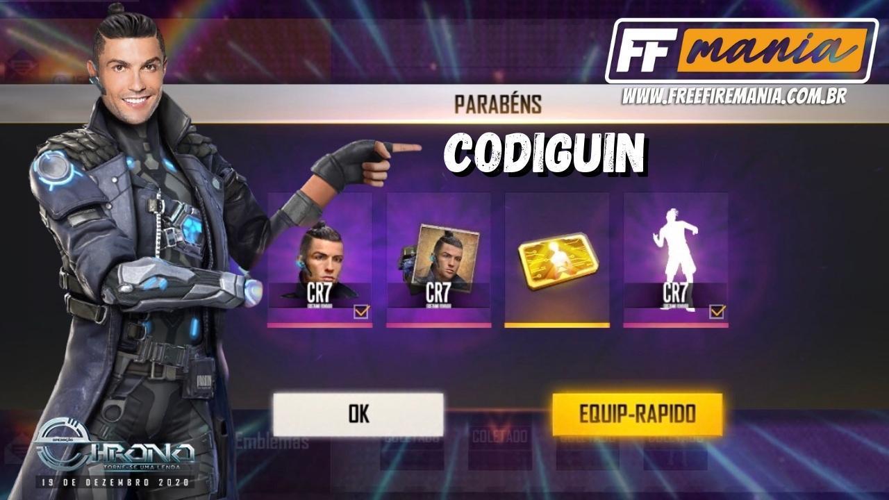 CODIGUIN FF: Códigos Free Fire do novo personagem Chrono, inspirado no Cristiano Ronaldo