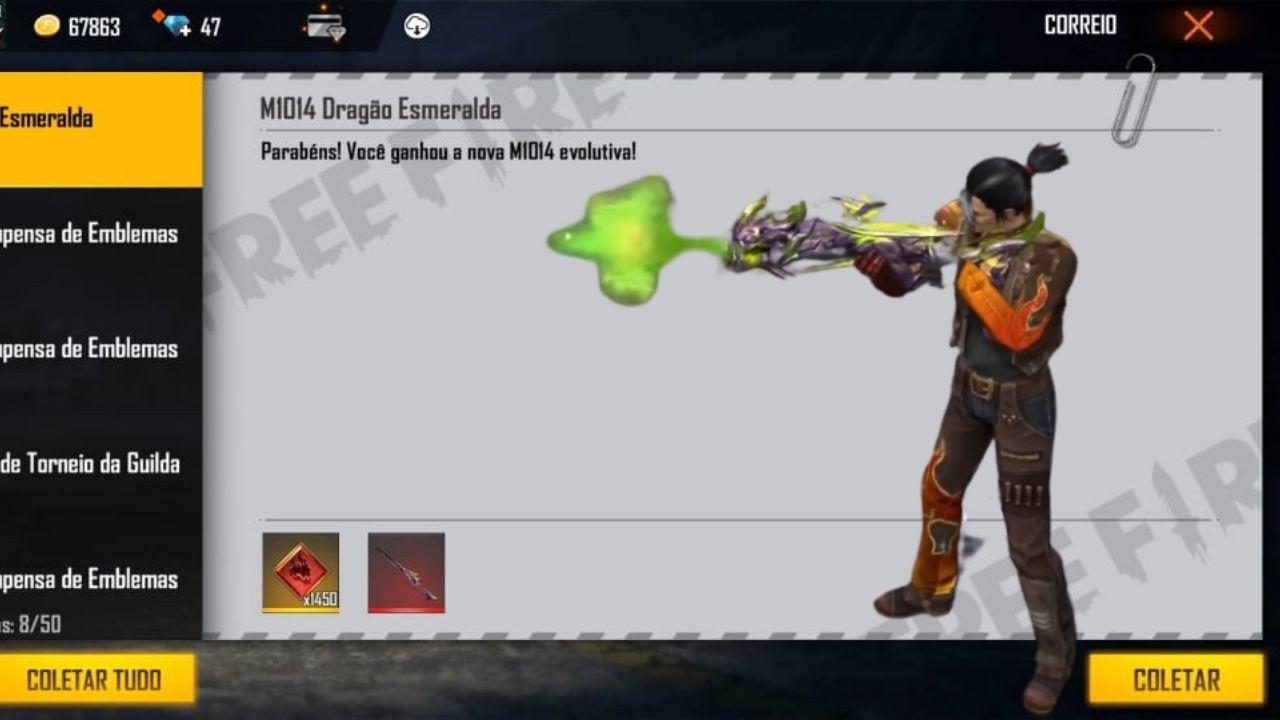 CODIGUIN FF: Novos códigos Free Fire com a nova skin evolutiva M1014 Dragão Esmeralda