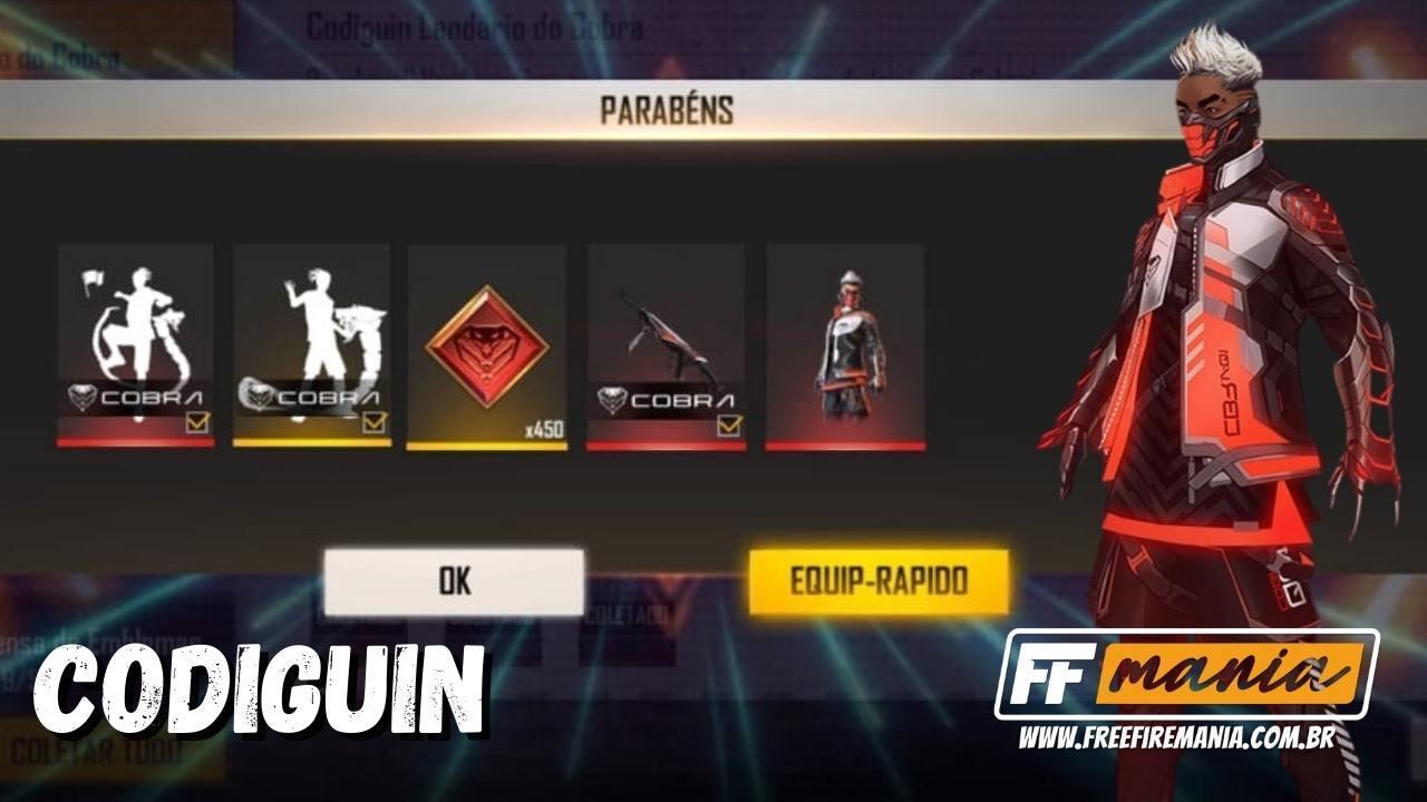 CODIGUIN Free Fire 2021: código lendário é liberado pela Garena, veja como resgatar na sua conta
