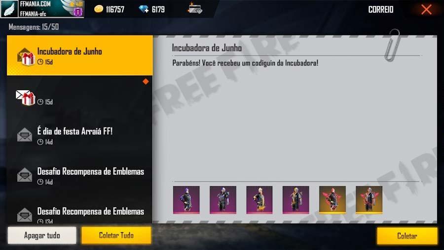 800 Codiguins: Novos códigos do Free Fire com as skins da Incubadora de Junho