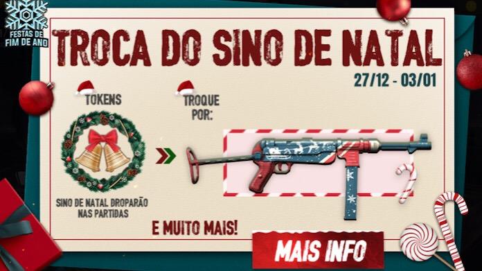 Como Coletar Tokens de Sino de Natal e trocar na Skin da MP40 Natalina no Free Fire