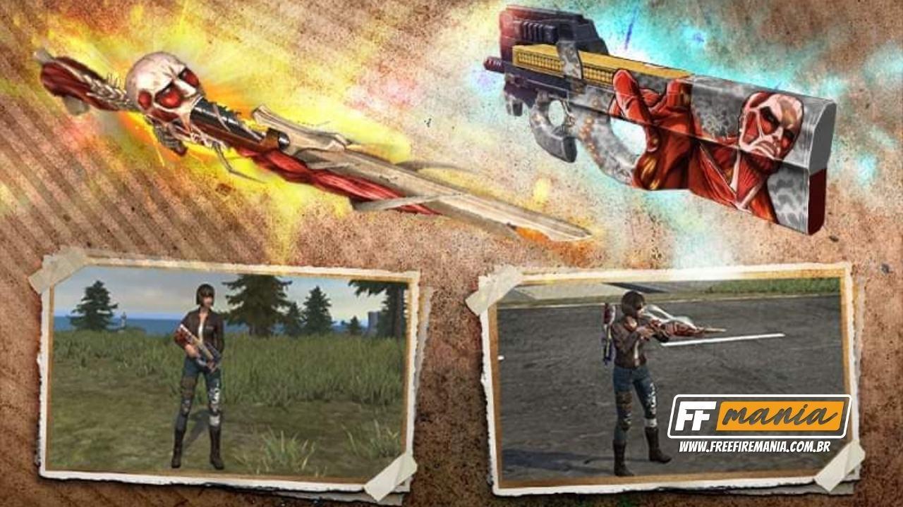Corrida de Colecionadores Free Fire (FF): veja como conseguir as novas M1014 e P90 Attack on Titan
