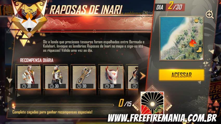 Dia 02: Onde encontrar o Tesouro da Raposa de Inari no Mapa do Free Fire