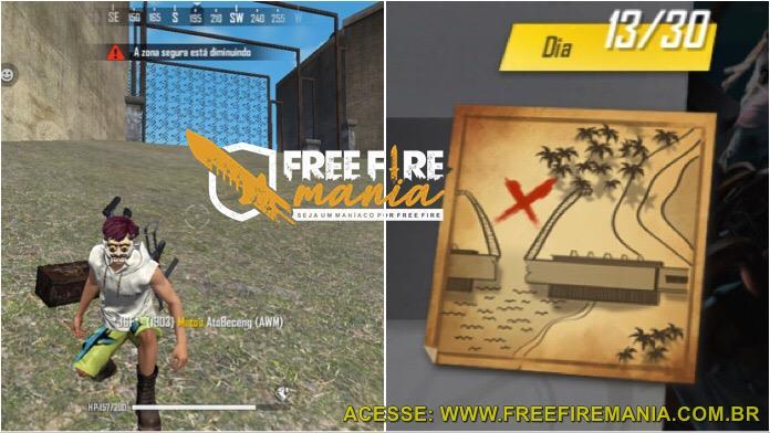 Dia 13: Onde Encontrar o Baú do Tesouro pelo Mapa do Free Fire