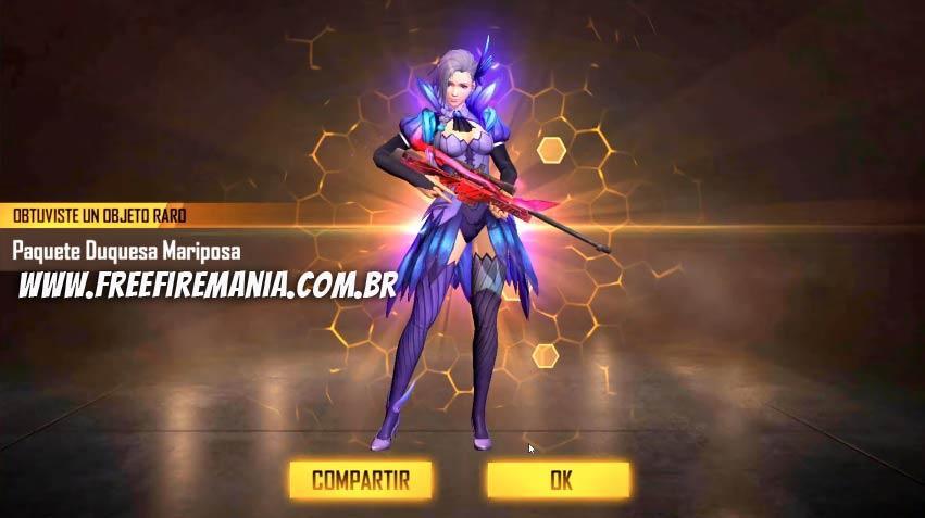 Novo Diamante Royale com a skin Duquesa Borboleta no Free Fire