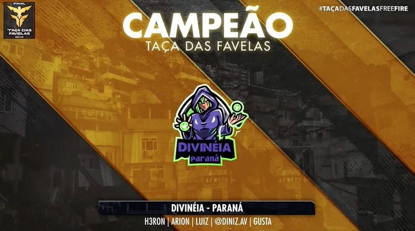 Divinéia, do Paraná, é a campeã da Taça das Favelas Free Fire
