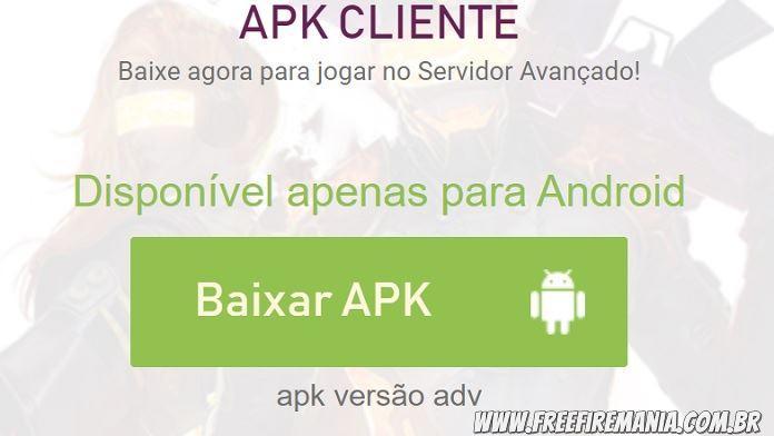 Download liberado do APK do Servidor Avançado de Free Fire