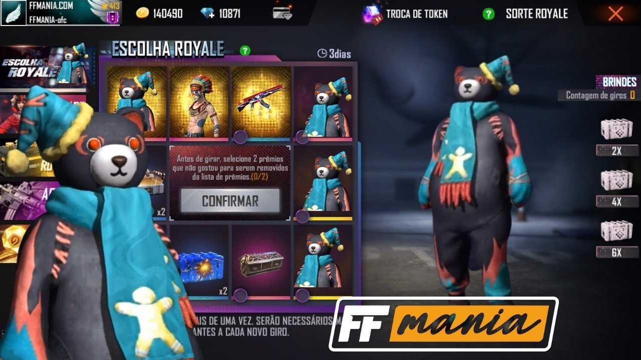 Escolha Royale traz a nova skin Ursinho Mal ao Free Fire