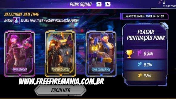 Evento Punk Squad no Free Fire