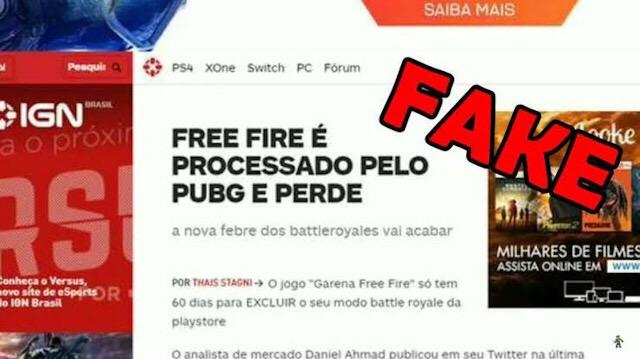 FAKE: Free Fire é processado pelo PUBG e vai acabar?