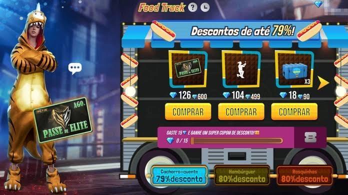 Food Truck Free Fire: Passe de Elite com desconto na próxima quarta-feira e Dino Tigre