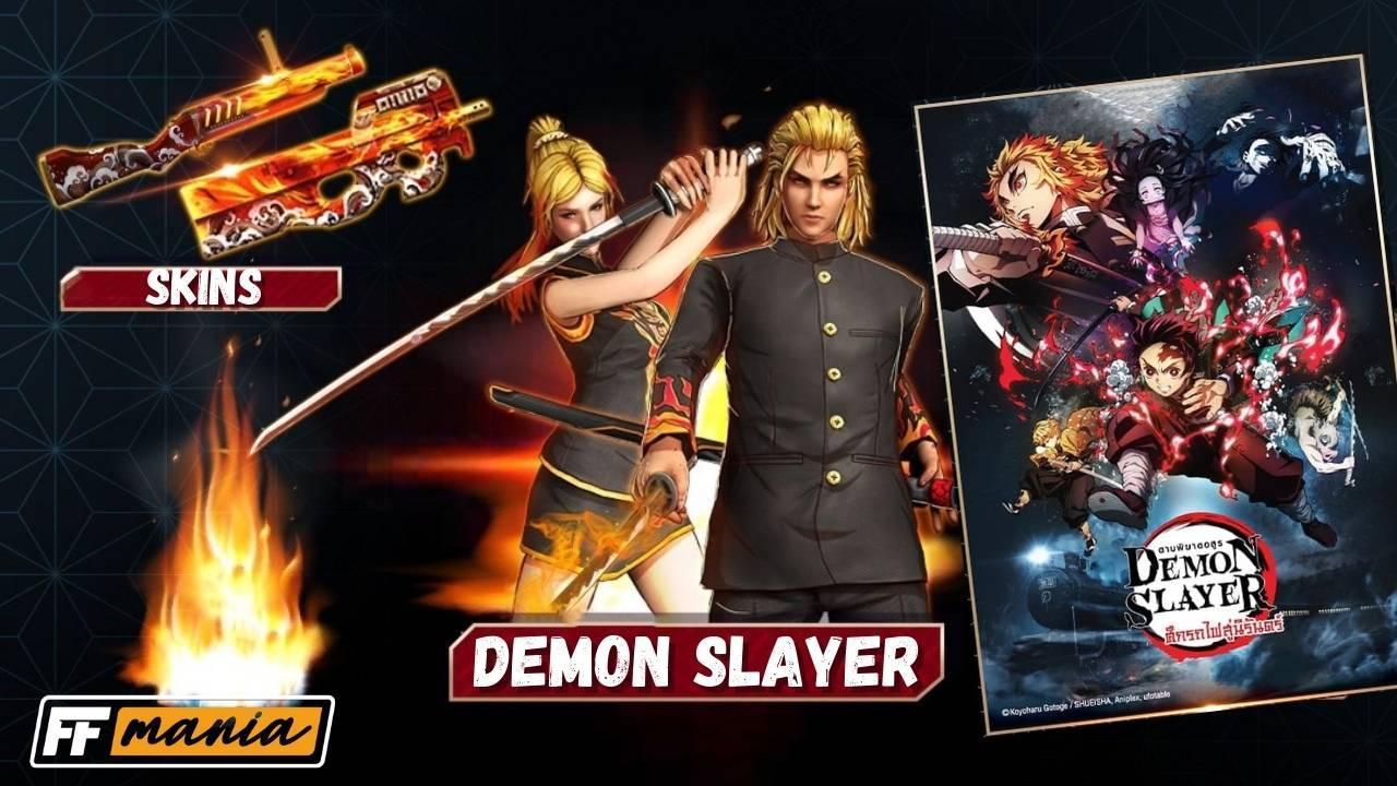 Free Fire e Demon Slayer: Pacotes Caçador Colérico e Caçadora Colérica estarão no Luzes do Destino