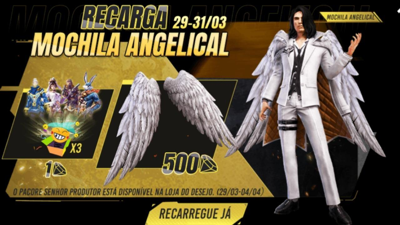 Free Fire (FF): Recarga Mochila Angelical traz item inédito com diamantes