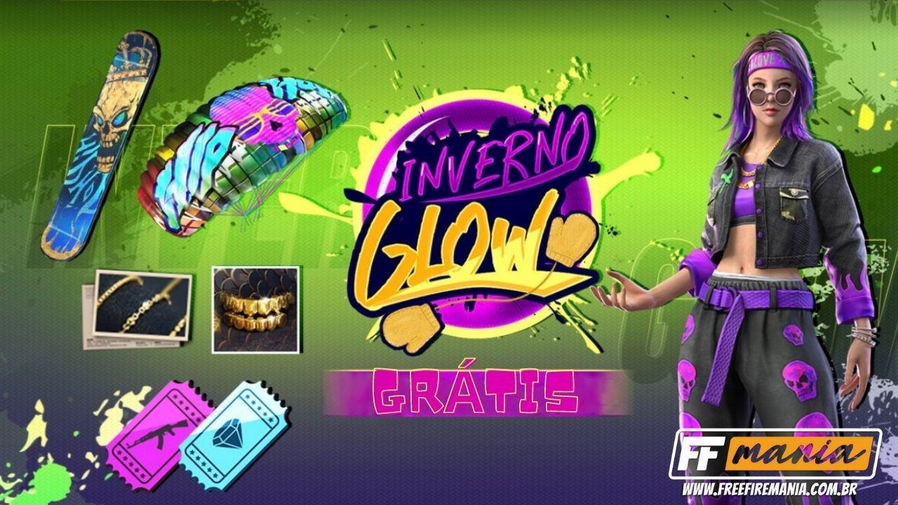 Free Fire Grátis! Pacote feminino DJ Glow, prancha, paraquedas e banner será liberado no jogo