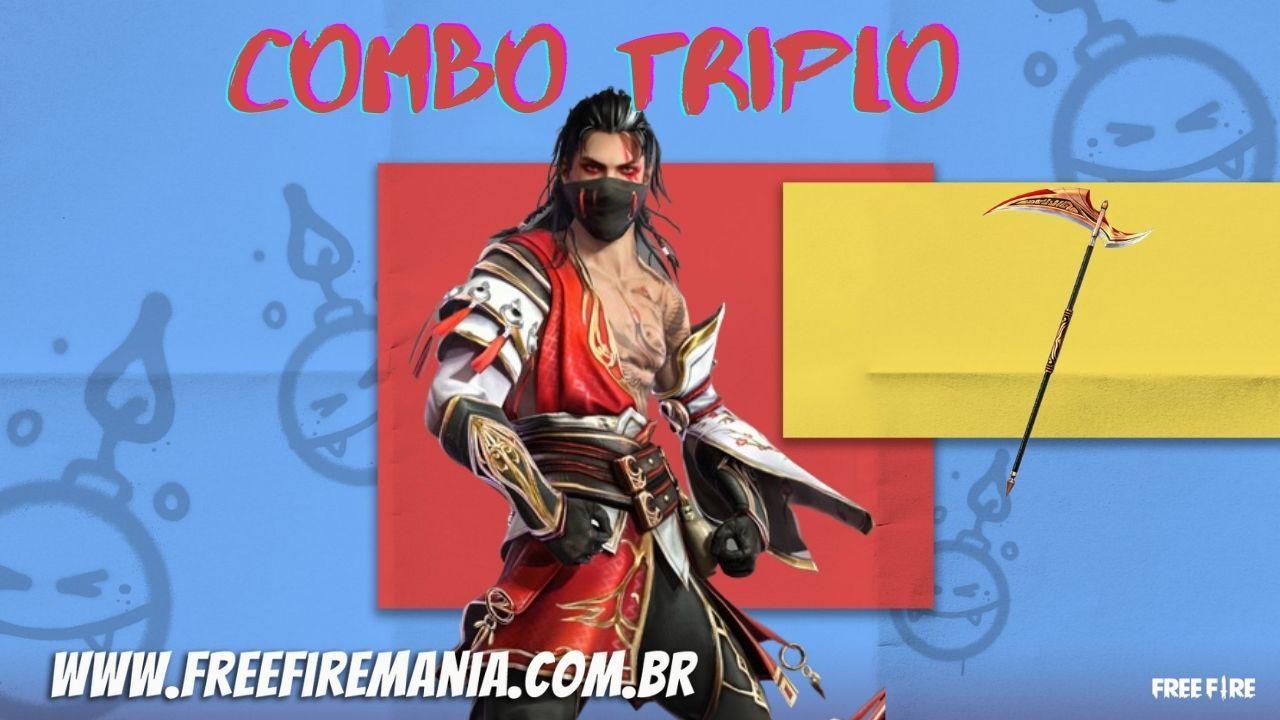 Free Fire: inéditos itens Akasagi chegam no evento Combo Triplo na quinta