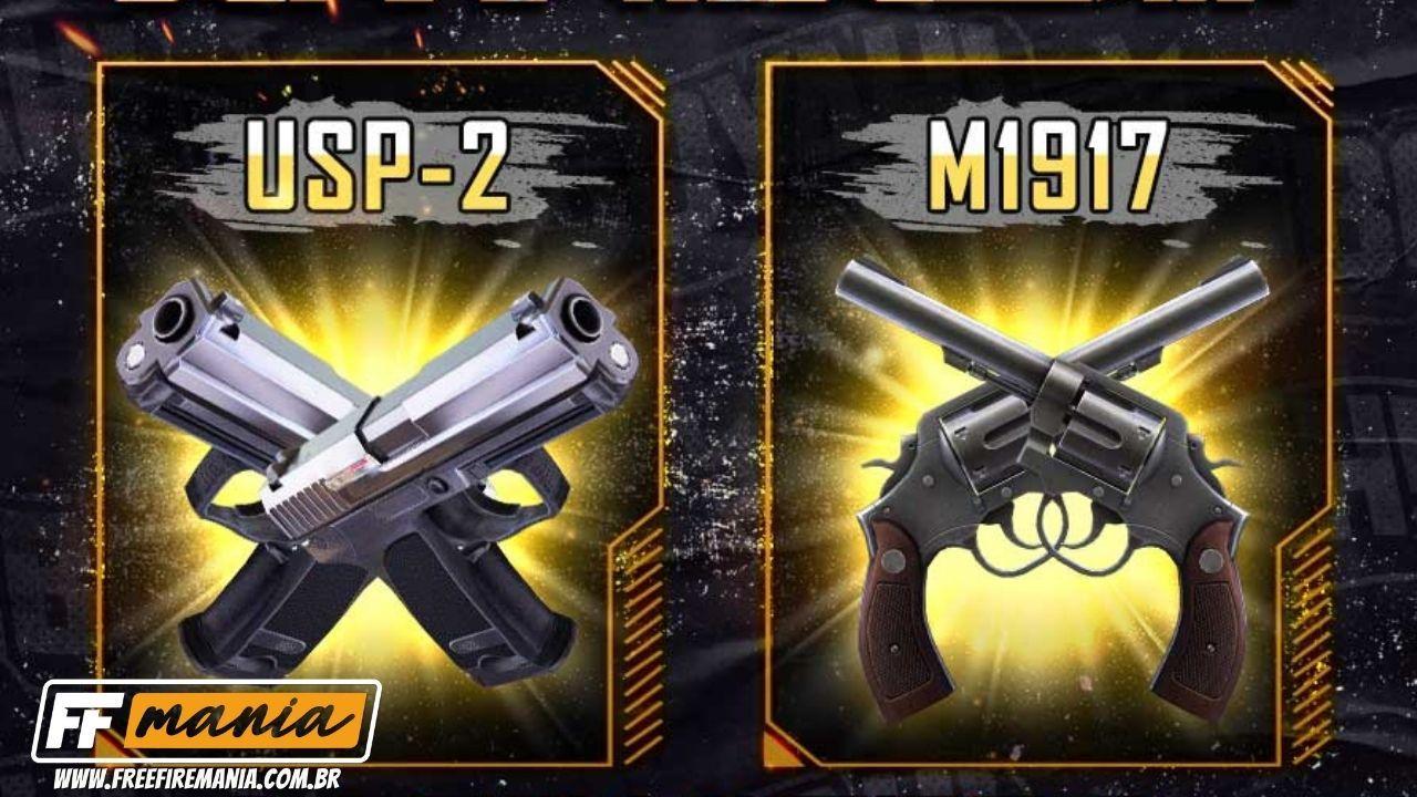 Free Fire: novas armas M1917 e USP-2 são anuncias e podem ser utilizadas com as duas mãos
