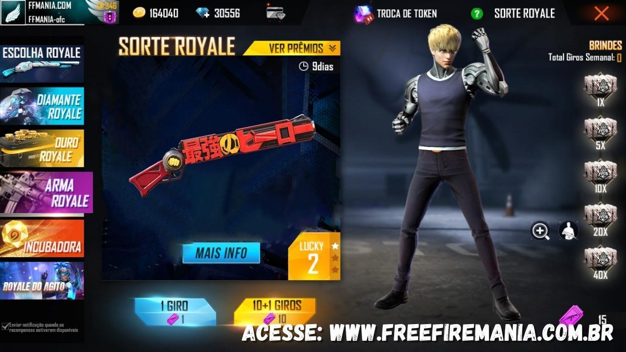 Free Fire: novo Escolha Royale com itens do One Punch-Man, M1887 e Pacote Genos