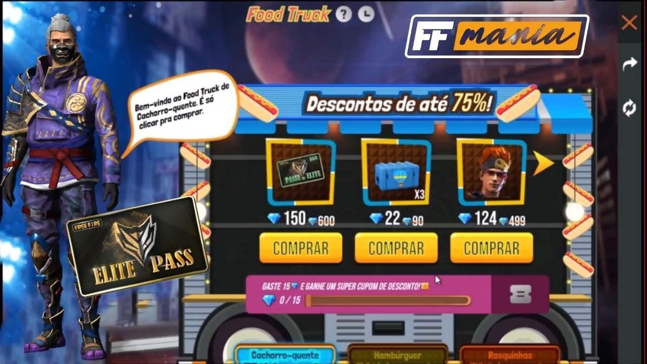Free Fire: Passe de Elite com até 90% de desconto chega no Food Truck