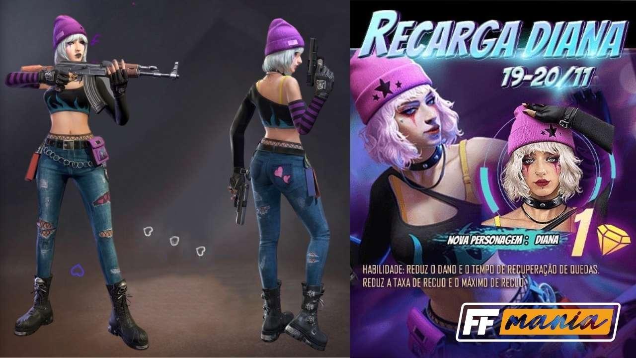 Free Fire: personagem Diana chega ao jogo em evento de recarga de diamantes
