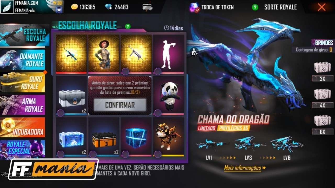 Free Fire: quantos diamantes são necessários para pegar a AK Chama do Dragão?