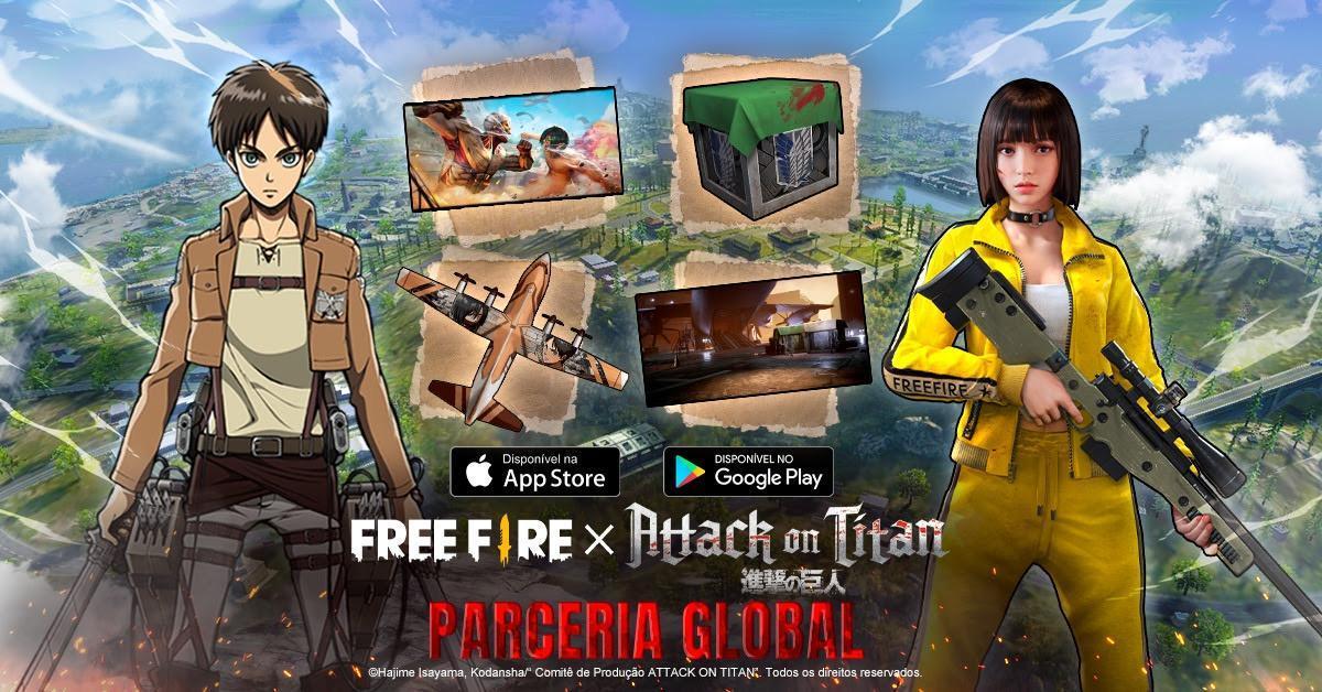Free Fire reúne jogadores para lutar pela sobrevivência, Attack on Titan começa sua invasão