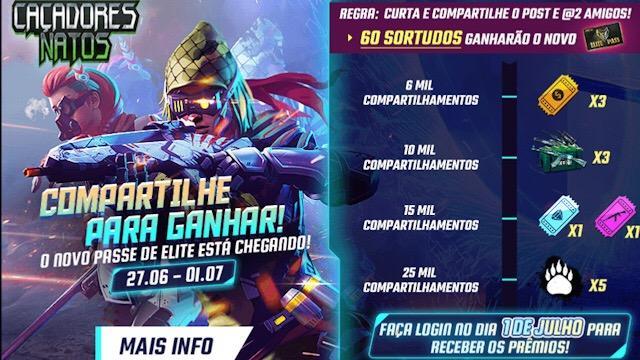 Garena BR irá dar 60 Passe de Elites de Graça!