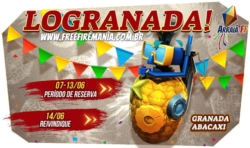 Nova skin da Granada Abacaxi, incrivelmente grátis no Free Fire!