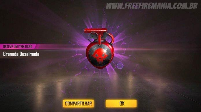 HOJE: Faça login no Free Fire para ganhar a nova skin da Granada Desalmada