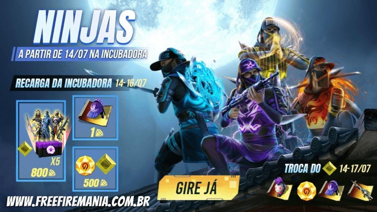 Incubadora Julho 2021 Free Fire: nova temática Ninjas chega com recarga nesta quarta-feira (14)