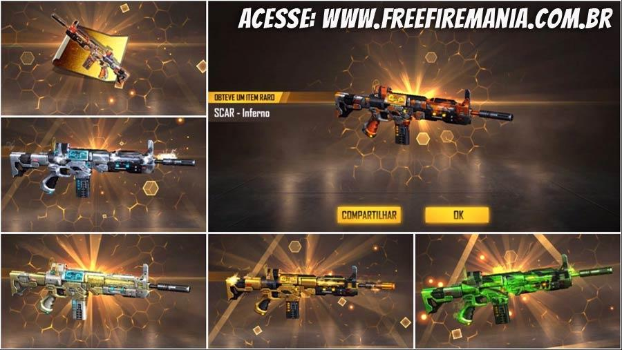 5 skins da SCAR está de volta ao Free Fire na Incubadora A Besta