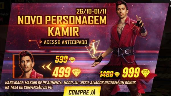 Kamir Free Fire: personagem disponível por 499 diamantes na loja