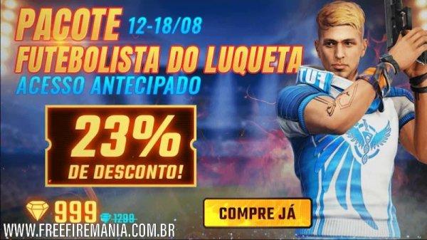 Luqueta Free Fire: pacote futebolista por 999 diamantes