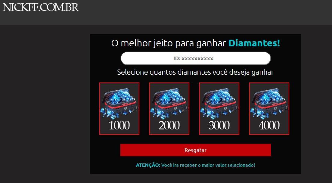 Nickff.com.br: site é a nova moda para enganar os jogadores do Free Fire