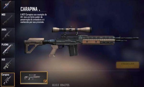 Nova arma do Free Fire: M21 Carapina